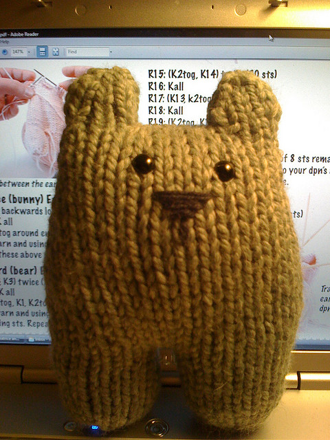 I think he looks equally cute without arms if you happen to run out of yarn