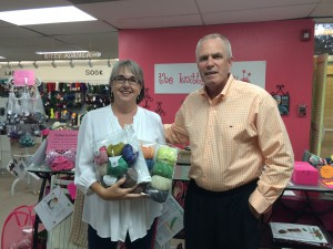 Dick Power and Knitty Gritty owner Anna Gales