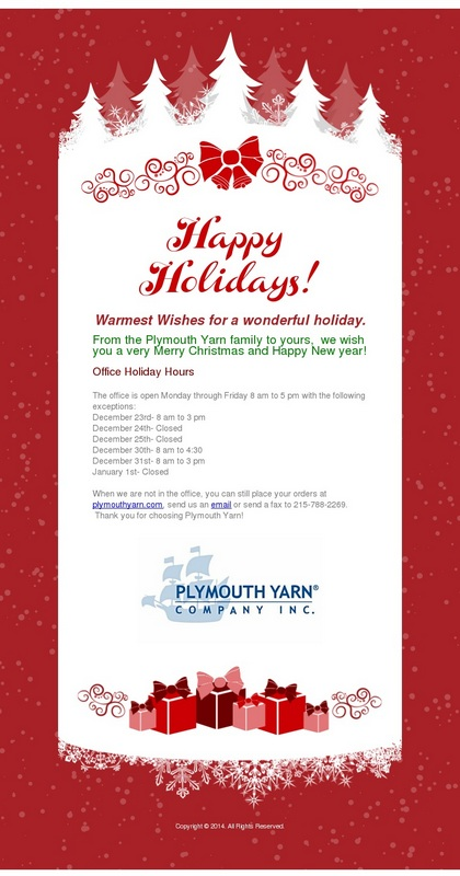 Happy Holidays From Plymouth Yarn!
