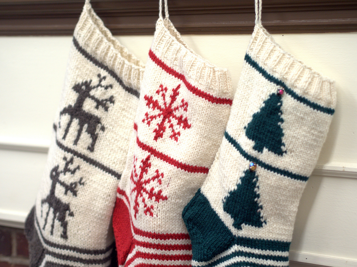 Free Knitting Pattern- Homestead Christmas Stockings Trio - Plymouth ...