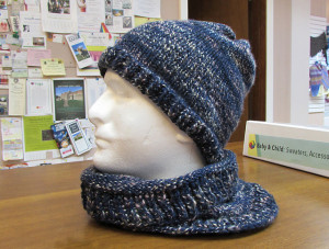 "Free Ravelry download, the ""Trust Me, Harry"" Hat and Cowl by Over the Rainbow Yarn Designs can be made with your favorite worsted weight. They chose Coffee Beenz but Galway, Encore Tweed or Encore Worsted would be a great fit too! Photo courtesy of Over the Rainbow Yarn Designs"
