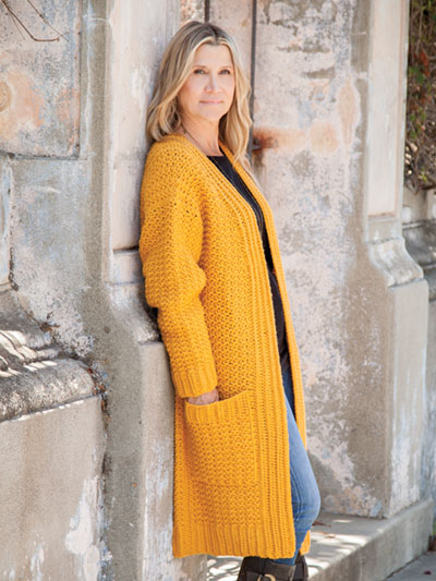 Golden Grove Cardi by Jill Hanratty. Crocheted with color 460 in Encore Worsted