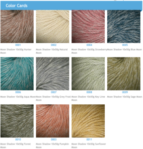 Color Cards for Plymouth Yarn Moon Shadow